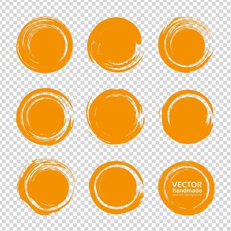 Abstract orange round textured smears set isolated on imitation transparent background