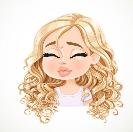 Beautiful kisses cartoon blond girl with magnificent curly hair portrait isolated on white background Illustration