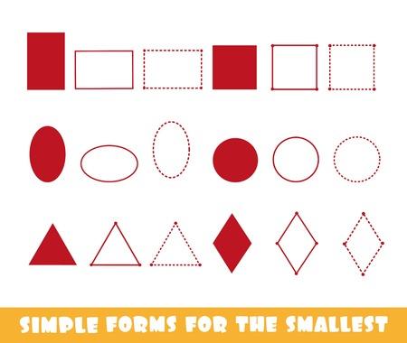 Círculo, óvalo, cuadrado, rectángulo, triángulo y rombo: formas simples para los más pequeños en un juego de desarrollo de fondo blanco