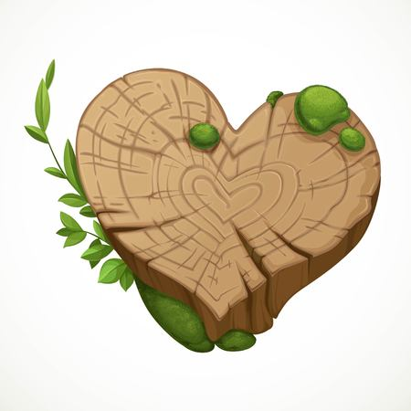 Old cracked stump in the shape of a heart moss isolated on a white background