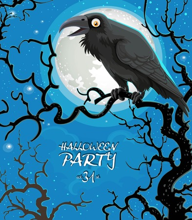 Leaflet invitation to celebrate Halloween black raven sits on a tree branch against the background of the moon Illustration