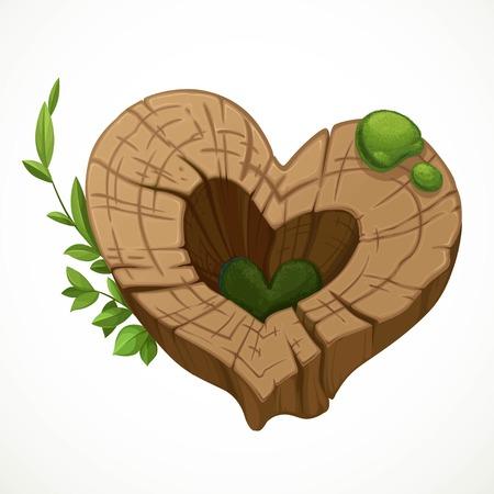 Alter gebrochener Stumpf in Form eines Herzens bedeckt mit Moos isoliert auf weißem Hintergrund