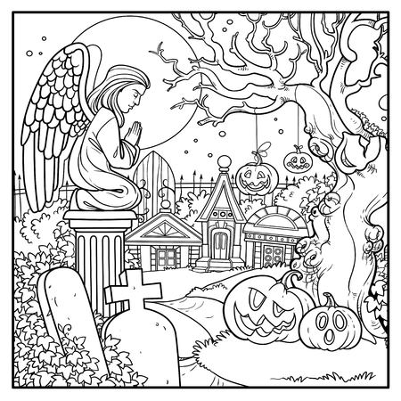Halloween background cemetery and crypts with pumpkins on old tree outlined for coloring page