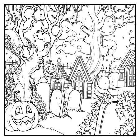 Cementerio de fondo de Halloween y criptas con calabazas de Halloween delineadas para colorear página