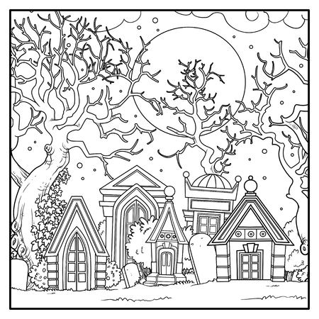 Scary old abandoned cemetery with crypts and big trees linear drawing for coloring isolated on white background Illustration