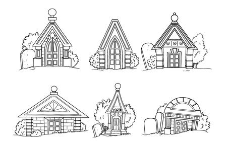 Set of six linear crypt images for coloring isolated on white background Illustration