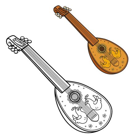 Antique lute decorated with inlaid birdss color and outlined picture for coloring book on white background Banque d'images - 111150564