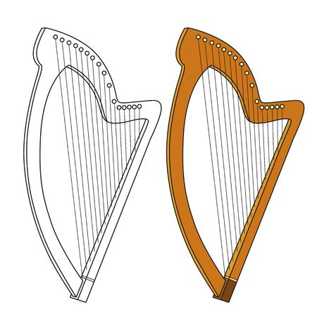 Celtic Harp color and outlined for coloring Иллюстрация