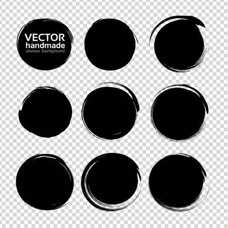 Black round textured smears set isolated on imitation transparent background