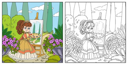 Beautiful princess with a palette, brush and easel draws in the park color and outlined picture for coloring book on white background Иллюстрация