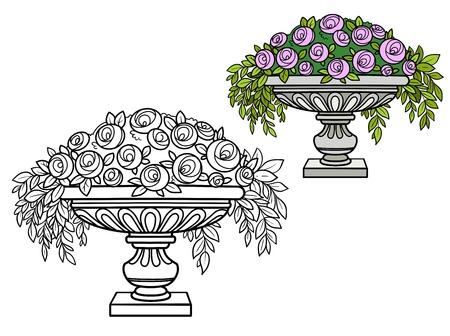 Rosenbusch mit Blumen, die in einer lockigen Vasenfarbe wachsen und zum Ausmalen umrissen sind Vektorgrafik