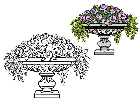 Rose bush with flowers growing in a curly vase color and outlined for coloring