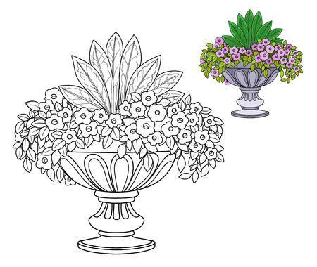 Flower bush growing in a big curly garden vase color and outlined for coloring