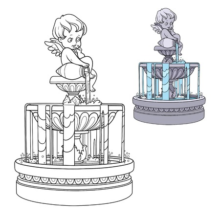 Fountain with a cupid figure pouring water from a jug color and outlined for coloring Illustration