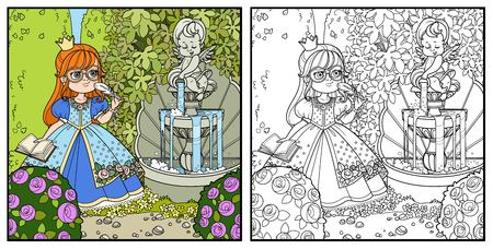 Princess with pen and diary for records in palace park with cupid pouring water from jug a fountain entwined with wild grapes and rose bushes color and outlined for coloring Ilustração