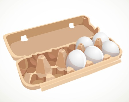 Chicken eggs in a cardboard tray isolated on a white background Çizim