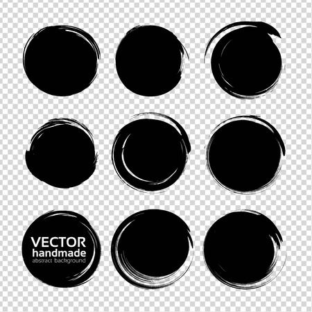 Round black abstract textured smears isolated on white background Illustration