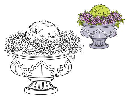 Flower bush growing in a curly garden vase color and outlined for coloring