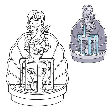 Fontaine avec la figure de Cupidon versant de l'eau d'une cruche de couleur et décrite pour la coloration Vecteurs