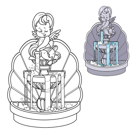 Fountain with cupid figure pouring water from a jug color and outlined for coloring