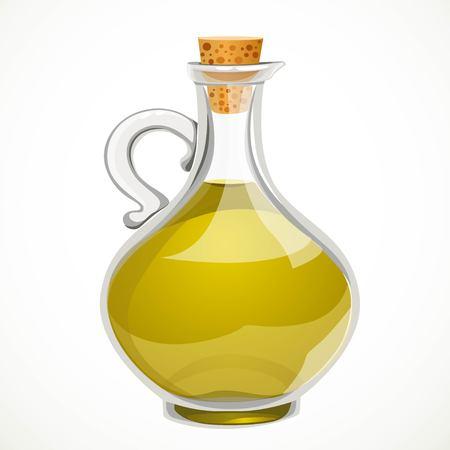 Huile d'olive végétale dans une bouteille transparente avec un bouchon en liège fermé isolé sur fond blanc