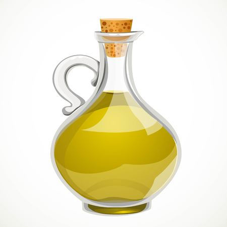 Vegetable olive oil in a transparent bottle with a closed cork stopper isolated on a white background Фото со стока - 113340658