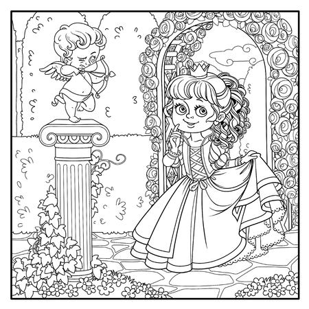 Lovely princess in park with statue of a cupid archer standing on column entwined with ivy outlined for coloring