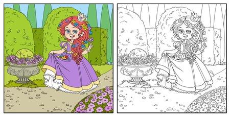 Bella principessa con fiori nei capelli e l'orlo del vestito nel parco del palazzo con arte topiaria e fiori colorati e delineati per la colorazione