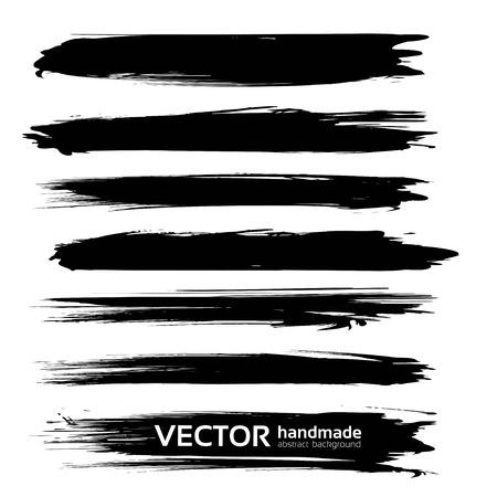 Black long big textured smears set isolated on white background