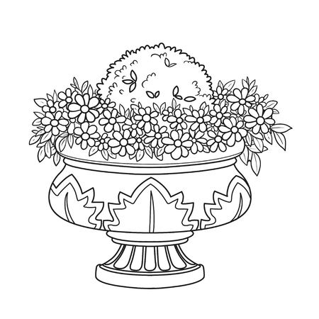 Flower bush growing in a curly garden vase outlined for coloring