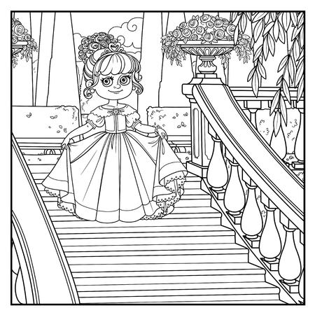 Beautiful little princess curtsies on large staircase in palace park with a outlined for coloring Illustration