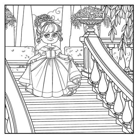 Hermosas reverencias de princesita en una gran escalera en el parque del palacio con un delineado para colorear Ilustración de vector