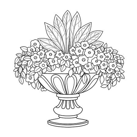 Arbusto de flores que crece en un gran jarrón de jardín rizado delineado para colorear