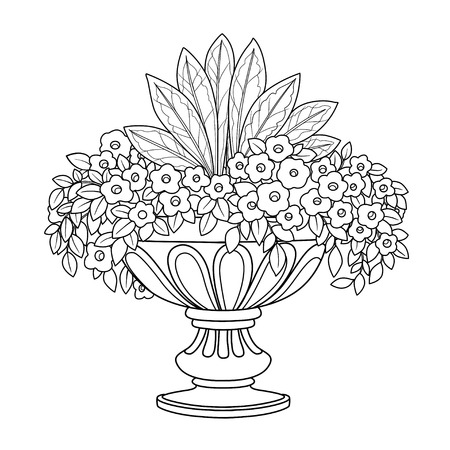 Flower bush growing in a big curly garden vase outlined for coloring