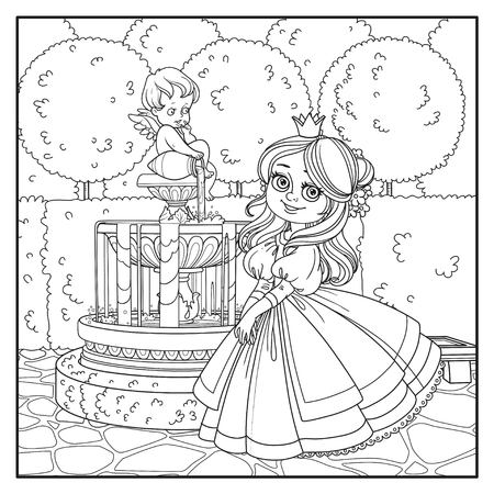 Cute princess in palace park with Cupid fountain outlined for coloring
