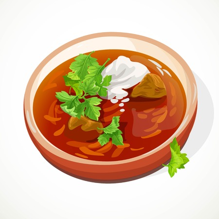 Ukrainian traditional red borscht with sour cream in a clay plate ssolated on white background Foto de archivo - 113340670
