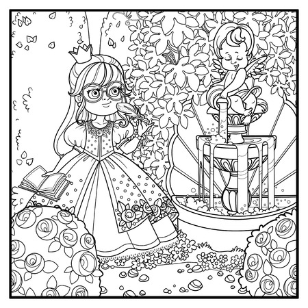 Cute princess with pen and diary for records in palace park with cupid pouring water from jug a fountain entwined with wild grapes and rose bushes outlined for coloring Foto de archivo - 111589981