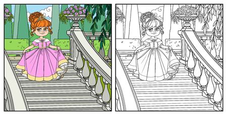 Beautiful little princess curtsies on large staircase in palace park  color and outlined for coloring Banque d'images - 111589984