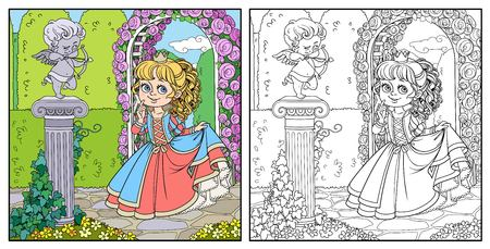 Lovely princess in park with statue of a cupid archer standing on column entwined with ivy color and outlined for coloring Illustration
