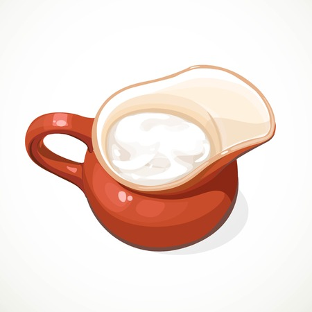Sour cream in a clay jug isolated on a white background