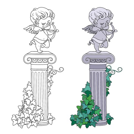 Statue of Cupid archer standing on a column entwined with ivy color and outlined for coloring Illustration