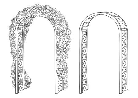 Flower arch empty and braided roses outlined for coloring