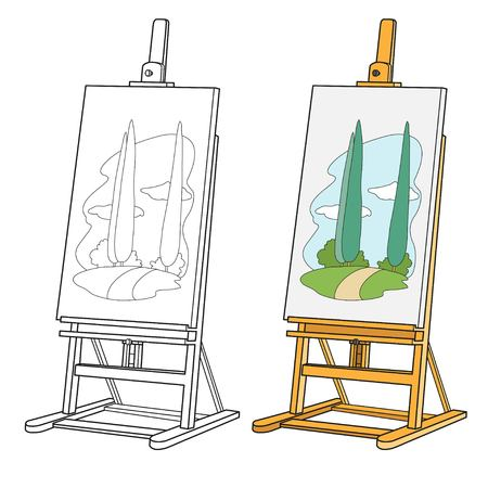 Wooden easel with stretched canvas with patterned landscape color and outlined for coloring
