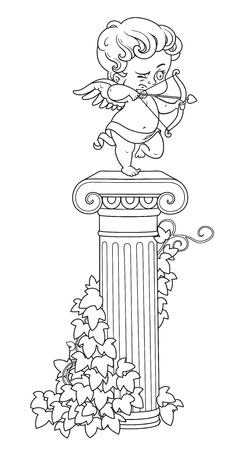 Statue of Cupid archer standing on a column entwined with ivy outlined for coloring Ilustração