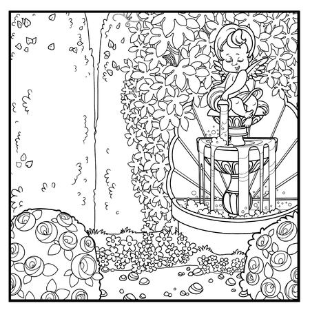 Palace park with a cupid pouring water from a jug a fountain entwined with wild grapes and rose bushes outlined for coloring Illustration