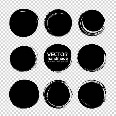 Black round abstract big textured smears  isolated on imitation transparent background Illustration