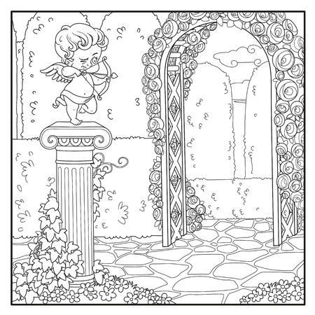 Statue of a cupid archer standing on column entwined with ivy in the park outlined for coloring Vector Illustration