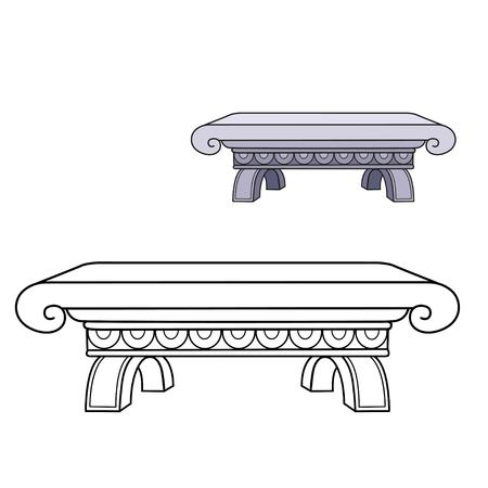 Marble bench color and outlined picture for coloring book on white background