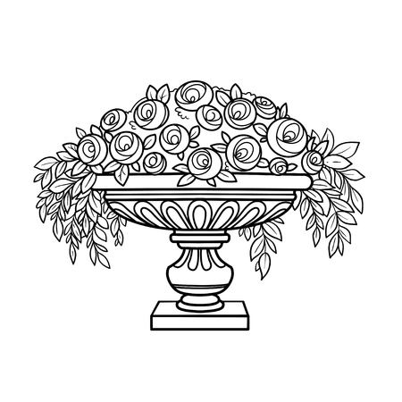 Rose bush with flowers growing in a curly vase outlined for coloring