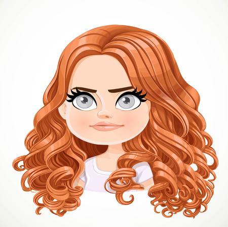 Schönes hartnäckiges lächelndes brünettes Mädchen der Karikatur mit dem braunen Haarporträt lokalisiert auf weißem Hintergrund Vektorgrafik